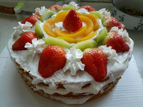 心月宝宝的今天连做两个水果裸蛋糕做法的学习成果