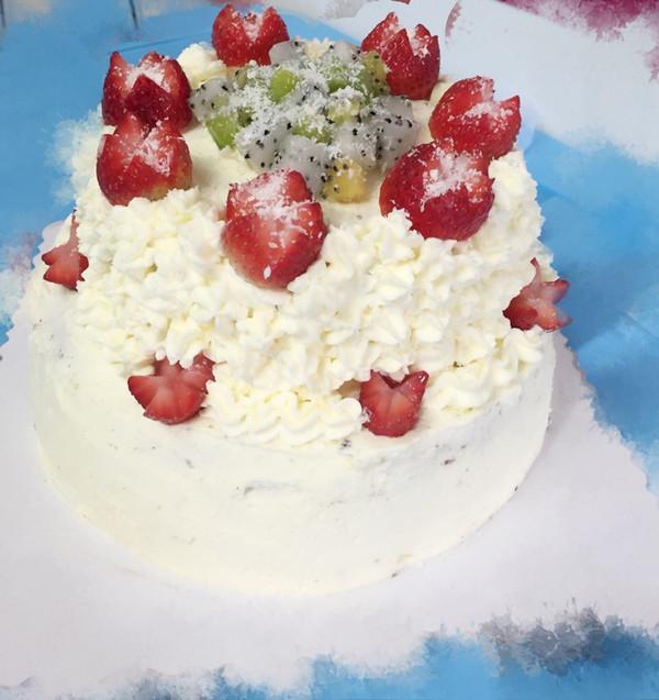 jin蕊的水果双层蛋糕做法的学习成果照