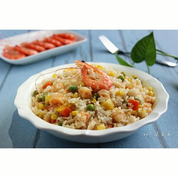 千姿百色的虾仁蔬果焖饭做法的学习成果照