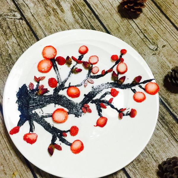 爱做美食的辣妈的梅花水果摆盘做法的学习成果照