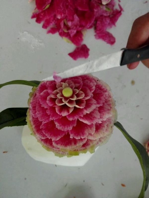 枫frhw的萝卜雕花做法的学习成果照