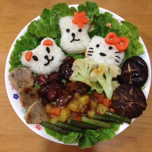 给可爱的米饭拼盘来个特写