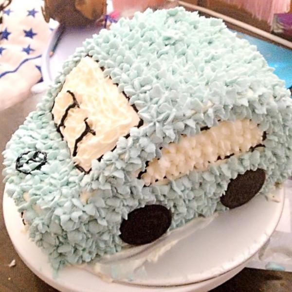 鹑火的可爱的小汽车生日蛋糕儿做法的学习成果照