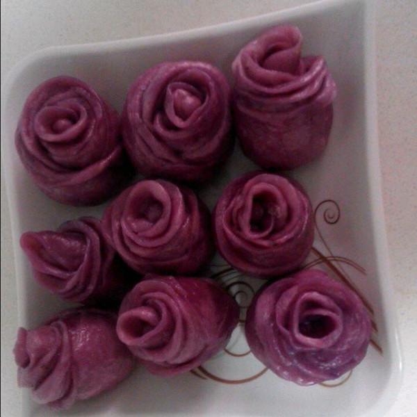 微微vv的紫薯玫瑰花卷做法的学习成果照