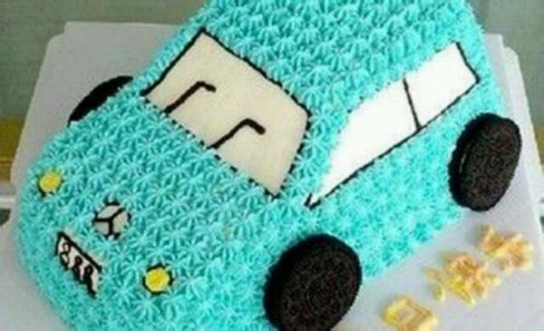 无可替代℡dmyz的可爱的小汽车生日蛋糕