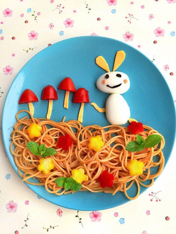 秦渝的小白兔采蘑菇儿童早餐做法的学习成果照 豆果美食